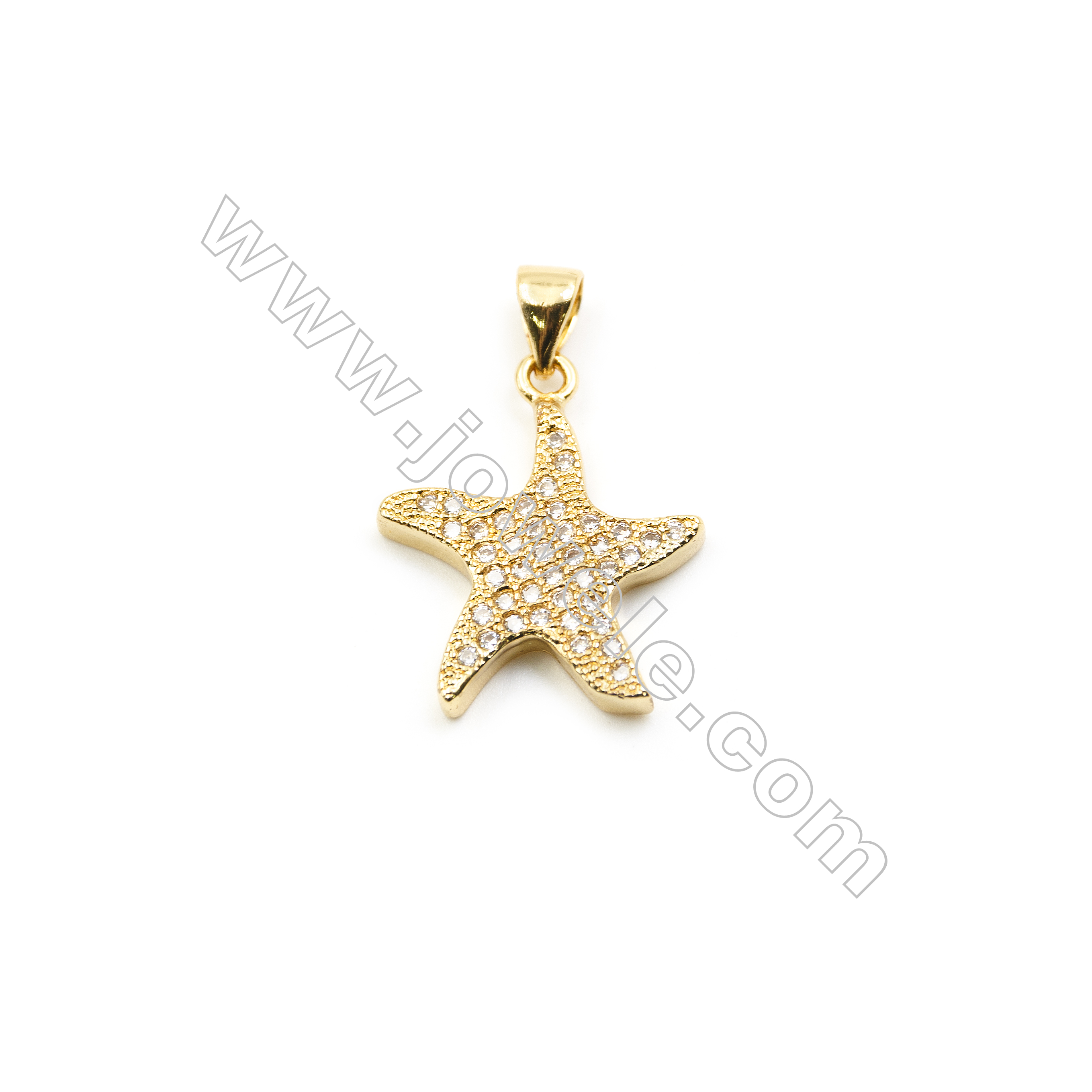 17x18mm Brass Star Pendant  Plated  Cubic Zirconia Micropave  20pcs/pack