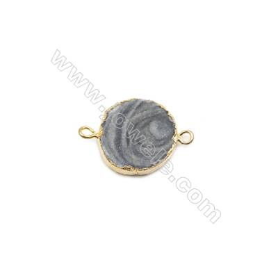 Round Druzy Agate Connectors, Color AB, Gold-plated Brass, Diameter 24mm, Hole 2.5mm, x1pc, Hand-cut Single-sided