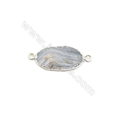 Oval Druzy Agate Connectors, Color AB, Silver-plated Brass, Size: about 18~20x25~30mm, Hole 2.5mm, x1pc, Hand-cut Single-sided
