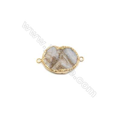 Oval Druzy Agate Connectors, Color AB, Gold-plated Brass, Size: about 20x30mm, Hole 2mm, Hand-cut Single-sided