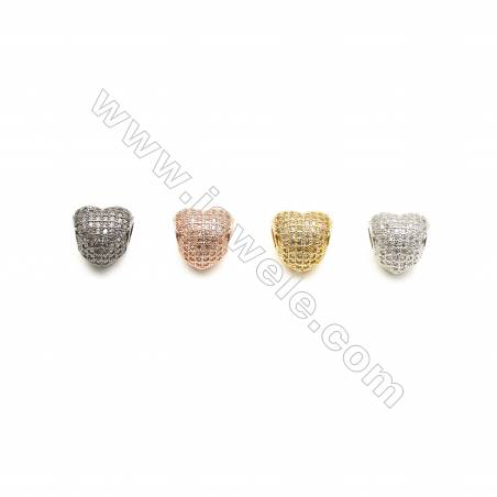 11x12mm Gold (Rhodium Black Rose Gold) Plated  Brass Beads  Cubic Zirconia Micropave  Heart  Hole 4mm  20pcs/pack