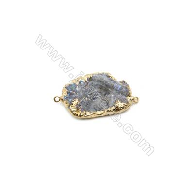 Irregular Druzy Agate Connectors, Gold-plated Brass, Size: about 20x30mm, Hole 1.5mm, x1pc, Hand-cut Single-sided