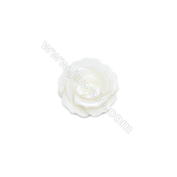 Natural White Mother-of-pearl Shell, Rose 25mm, Hole 1mm, 10pcs/pack