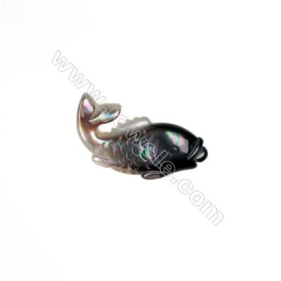 Delicate carp  gray mother-of-pearl shell, 15x31mm, x 10 pcs/pack