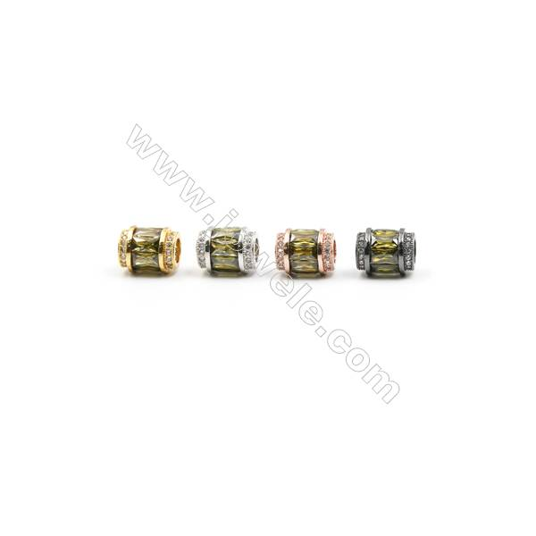 9x11mm Gold (Rhodium Black Rose Gold) Plated Brass Beads  Cubic Zirconia Micropave  Column  Hole 5mm  10pcs/pack