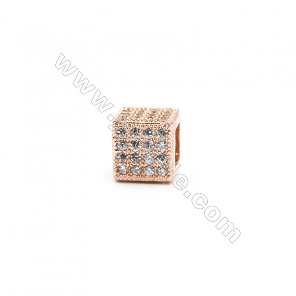 7x7mm Gold (Rhodium Black Rose Gold) Plated Brass Connectors  Cubic Zirconia Micropave  Square  Hole 4mm  20pcs/pack