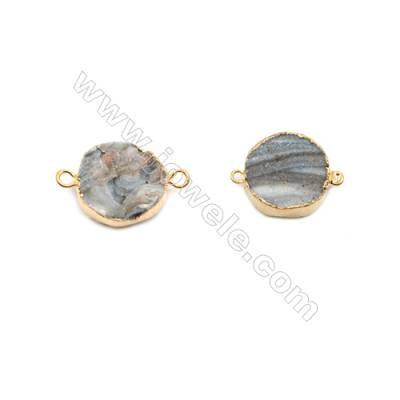 Round Druzy Agate Connectors, Color AB, Silver/Gold-plated Brass, Diameter 20mm, Hole 2mm, Hand-cut Single-sided