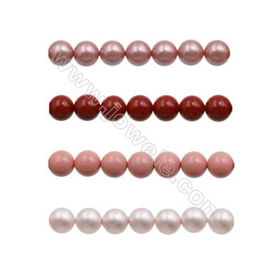 6mm Red Series Shell Pearl Beads  Hole 0.8mm  about 66 beads/strand 15~16""