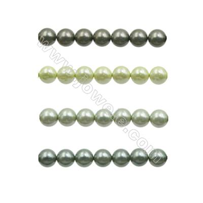 6mm Green Series Shell Pearl Beads  Hole 0.8mm  about 66 beads/strand 15~16""