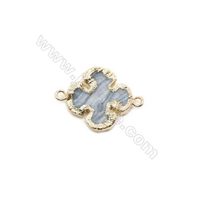 Clover Druzy Agate Connectors, Color AB, Gold-plated Brass, Size: about 20x20mm, Hole 2mm, Hand-cut Single-sided