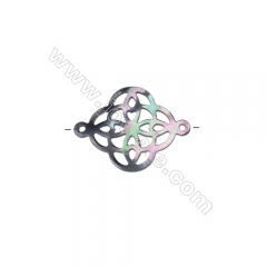 Gray mother-of-pearl shell hollow Celtic knots accessories 18x24mm,hole 1.3mm, 15pcs/pack