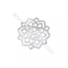 Hollow pattern white mother-of-pearl shell 35mm x 10 pcs/pack