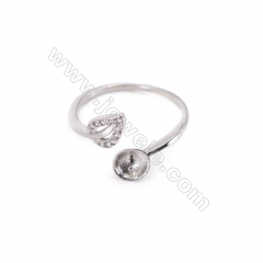 Adjustable sterling silver platinum plated rings, zircon ring for half drilled beads, diameter 18mm, tray 6mm,pin 0.7mm X 1piec