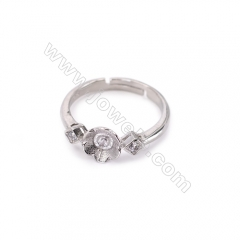 Sterling silver platinum plated adjustable rings, ring findings for half drilled beads, diameter 17mm, tray 4mm,pin 0.8mm, X 1pc
