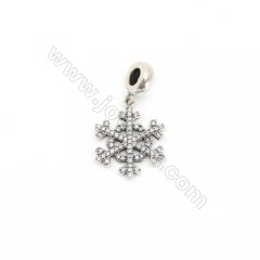 Sterling Silver Zircon European Beads x 1 Piece, Snowflake, Size: 19x19mm