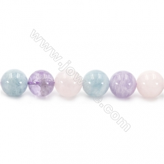 Natural Crystal Mix Beads Strand, Round, Diameter 12mm, hole 1.5mm, about 33 beads/strand 15~16""