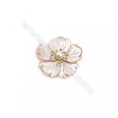 Pink Flower Mother-of-pearl Shell Brooch x 1Piece,Gold Plated, Size 34x35mm