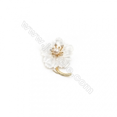 White Flower Mother-of-pearl Shell CZ Brooch x 1Piece, Gold Plated, Size 37x48mm