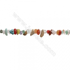 "Natural Mix Gemstone Beads Strand, Chips, Size 4~7x5~13mm, hole 0.8mm, 31~32"" x 1strand"