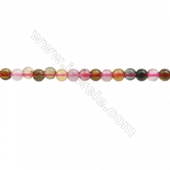 Natural Tourmaline Beads Strand, Round, Diameter 3mm, hole 0.6mm, about 158 beads/strand, 15~16""