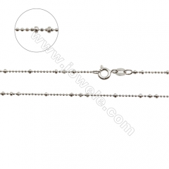 "925 Sterling Silver Ball Chain x 1Piece , Size: large ball 1.8mm, small 1mm, Length: 16"" (white gold plating)"
