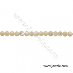 3mm Mother-of-pearl Shell Beads Strand, Round, hole 0.7mm, about 128 beads/strand, 15~16""