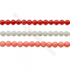 Various Colors Coral Round Beads Strands, Dyed, Diameter 4mm, Hole: 0.7mm; about 100 pcs/strand 15~16""