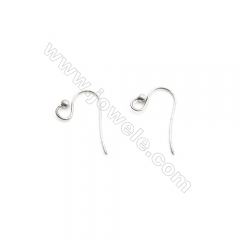 925 Sterling Silver Earring hook, Size 9x20mm, Pin 0.8mm, Hole 4mm, 60pcs/pack