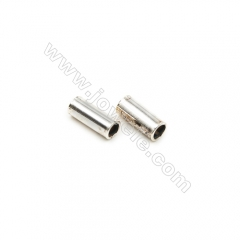 925 Sterling Silver Tube, Size: 2x5mm, Hole 1.5mm, 140pcs/pack