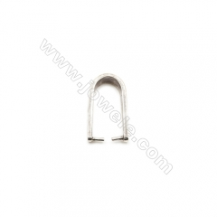 925 Sterling Silver Pinch Bail, Size: 8x14mm, Pin 0.7mm,  15pcs/pack