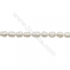 "Natural Fresh Water Pearl,White, Size 5~6mm, Hole 0.7mm, 13~14""/strand"