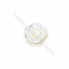 White mother-of-pearl rose shell 12mm, hole 1.0mm, 30pcs/pack