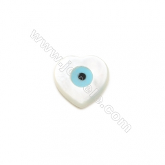 Heart-designed  blue evil eye white mother-of-pearl shell 10x10mm  hole 0.9mm   20pcs/pack