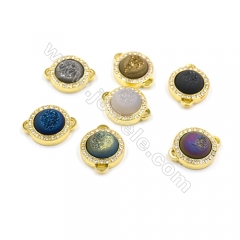Round Electroplating Natural Druzy Agate,Dyed,with Zircon Gold Plated Brass Connectors,Diameter 21mm,Hole 0.8x2.5mm,5pcs/pack