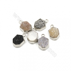 Electroplating Multicolor Natural Druzy Agate Pendants, white gold plated, Polygon, Size 12x14mm, Hole 2mm, 6pcs/pack