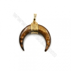 Dyed Tiger-eye Mother of pearl Shell Pendants, with Brass wire, Golden, Moon, Size: about 32x34mm, 6pcs/pack