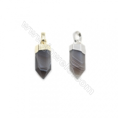 Natural Botswana Agate with Brass Pendants, (Gold, Platinum)Plated, Bullet(Faceted), Size 7x20mm, 6pcs/pack