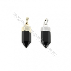 Natural Black Agate with Brass Pendants, (Gold, Platinum)Plated, Bullet(Faceted), Size 7x20mm, 6pcs/pack